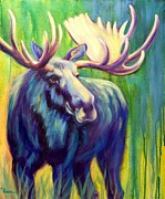 Moose Paintings - In the Limelight by Theresa Paden