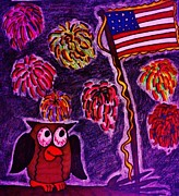 4th July Drawings Metal Prints - Independence Day Metal Print by Christy Brammer