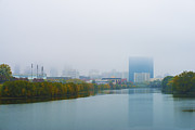 Indiana Autumn Art - Indianapolis Autumn Skyline Fog by David Haskett
