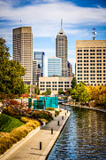 Indiana Trees Posters - Indianapolis Skyline Picture of Canal Walk in Autumn Poster by Paul Velgos
