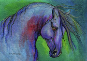 Horse Drawings Originals - Indigo Horse by Angel  Tarantella