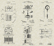 Edison Drawings Prints - Inventors Patent Collection Print by PatentsAsArt