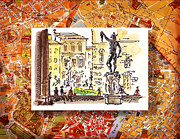 Vintage Map Painting Framed Prints - Italy Sketches Florence Palazzo Vecchio Piazza  Framed Print by Irina Sztukowski