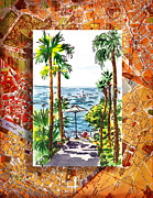 Travel Sketch Italy Framed Prints - Italy Sketches Palm Trees Of Sorrento Framed Print by Irina Sztukowski