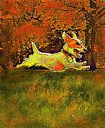 Dogs Digital Art Metal Prints - Jack Russell In Autumn Metal Print by Jane Schnetlage