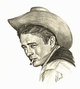 James Dean Drawings Posters - James Dean Poster by Vicki Knoll