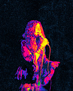 Rock And Roll Digital Art Originals - Janis Joplin Psychedelic Fresno  by Joann Vitali