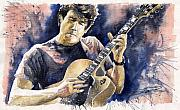 Legend Painting Metal Prints - Jazz Rock John Mayer 06 Metal Print by Yuriy  Shevchuk