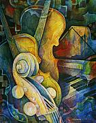 Instrument Painting Posters - Jazzy Cello Poster by Susanne Clark