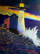 Jesus Art Paintings - Jesus is the Lighthouse by Kathleen Luther