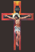 Gothic Crucifix Prints - Jesus On The Cross Print by Zorina Baldescu