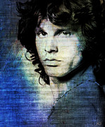 Jim Morrison Prints - Jim Morrison - Blue Print by Absinthe Art  By Michelle Scott