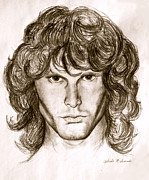 Rock Star Drawings - Jim Morrison by Melinda Saminski