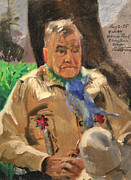1950s Portraits Painting Prints - Jim Wilt - Mountain Poet Print by Art By Tolpo Collection