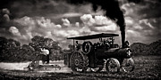 Greyhound Photos - JL CASE 65HP STEAM TRACTOR PLOWING B and W by F Leblanc