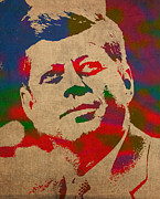 President Mixed Media Prints - John F Kennedy JFK Watercolor Portrait on Worn Distressed Canvas Print by Design Turnpike
