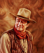 Patriots Painting Prints - John Wayne Print by Dick Bobnick