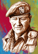 John Wayne Drawings Framed Prints - John Wayne stylised pop art drawing potrait poser Framed Print by Kim Wang