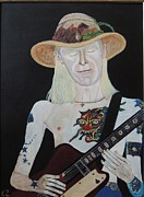 Blues Singers Paintings - Johnny Winter.Mean town blues. by Ken Zabel