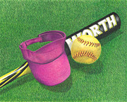 Softball Drawings Originals - Julias Game by Troy Levesque