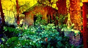 Shed Digital Art Posters - Jungle Cabin Displaced Poster by Ann Almquist