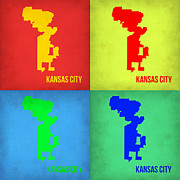 World Map Digital Art Metal Prints - Kansas Pop Art Map 1 Metal Print by Irina  March