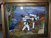 Stained Glass Boy Glass Art Posters - Karate Poster by Nora Solomon