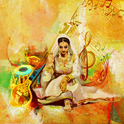 Dancer Art Painting Posters - Kathak Dancer 2 Poster by Catf