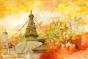 Domes Painting Prints - Kathmandu Valley Print by Catf