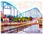 Pittsburgh Digital Art Framed Prints - Kennywood Amusement Park Framed Print by Charles Ott