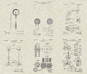 Technical Art Drawings Prints - Key Scientific Inventions Patent Collection Print by PatentsAsArt