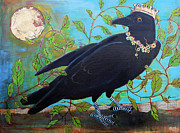 Canvas Mixed Media Originals - King Crow by Blenda Tyvoll