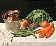 Green Beans Paintings - Kitchen vegetables by Ken Wathey