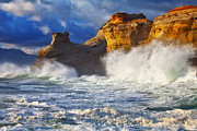 Waves Splash Photos - Kiwanda Cliffs by Darren  White