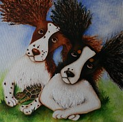 Spaniels Paintings - Kody Durbin and Copper by Deb Harvey