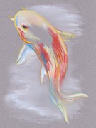 Orange Colored Pastels Prints - Koi Fish Swimming Print by MM Anderson