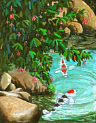 Koi Fish Drawings - Koi Kingdom by Dan Redmon