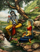 Parrot Art Paintings - Krishna with Radha by Vrindavan Das