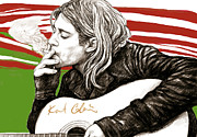 Guitar Drawings Posters - Kurt Cobain morden art drawing poster Poster by Kim Wang