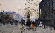Horse-drawn Framed Prints - La Madeleine Paris Framed Print by Eugene Galien-Laloue