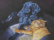 Black Lab Puppy Paintings - Labrador Love by Lee Ann Shepard
