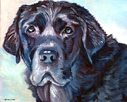 Black Lab Puppy Paintings - Labrador Retriever by Lyn Cook