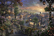 Fairies Posters - Lady and the Tramp Poster by Thomas Kinkade