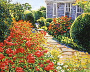 Gardenscape Paintings - Laguna Beach House Garden by David Lloyd Glover
