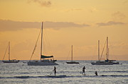 Surf Silhouette Framed Prints - Lahaina Harbor at Sunset Framed Print by Sean Griffin