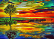 Amazing Sunset Digital Art Posters - Lake at Sunset Poster by Yury Malkov