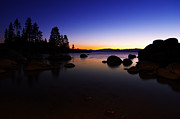 Lake Tahoe Photography Photos - Lake Tahoe Sand Harbor Sunset Silhouette by Scott McGuire
