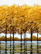 Surroundings Digital Art Posters - Lakeside Autumn Poster by James Shepherd
