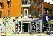 Store Fronts Painting Prints - Lappartement Boutique Fashions Trendy Chic Clothing Store Ave Du Mont Royal City Scene  Print by Carole Spandau