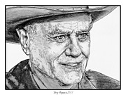 Dallas Drawings Metal Prints - Larry Hagman in 2011 Metal Print by J McCombie